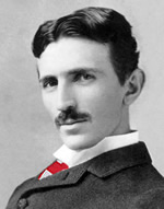 Nikola Tesla in monochrome wearing a neck tie in Croatian colors, red and white