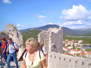 Trekkers over Mali Ston on Peljesac