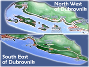 Map of Areas close to Dubrovnik