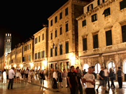 People Stroll on Dubrovnik most famous street Placa aka Stradun street