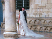 Wedding in Dubrovnik, a couple standing in front of the Rector's Palace in Dubrovnik
